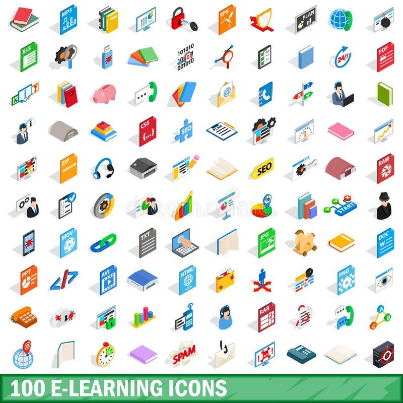 100 e-lerende geplaatste pictogrammen, isometrische 3d stijl vector illustratie
