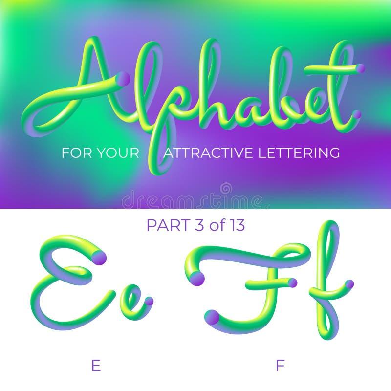 E Letra del logotipo E, letra de F con formas redondeadas r ilustración del vector