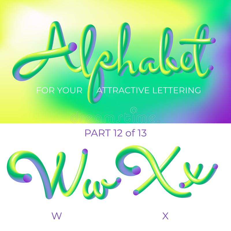 E Letra del logotipo X, letra de W con formas redondeadas r ilustración del vector