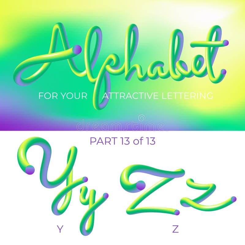 E Letra del logotipo Y, letra de Z con formas redondeadas r stock de ilustración