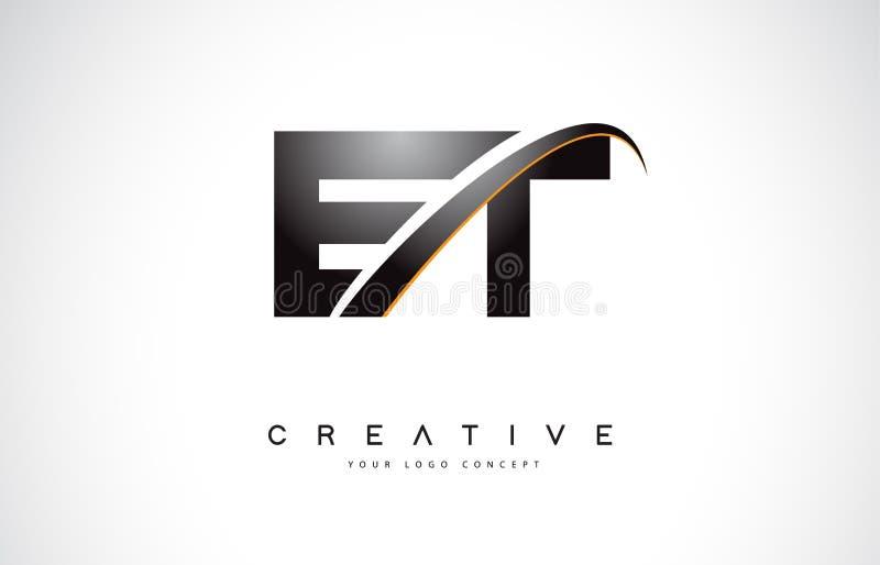 E letra Logo Design do Swoosh de E T com a curva amarela moderna do Swoosh ilustração stock