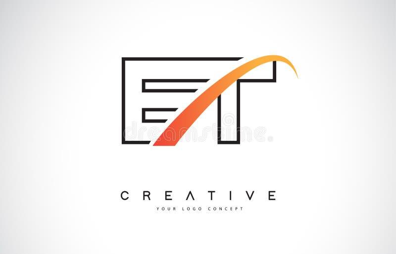 E letra Logo Design do Swoosh de E T com a curva amarela moderna do Swoosh ilustração royalty free