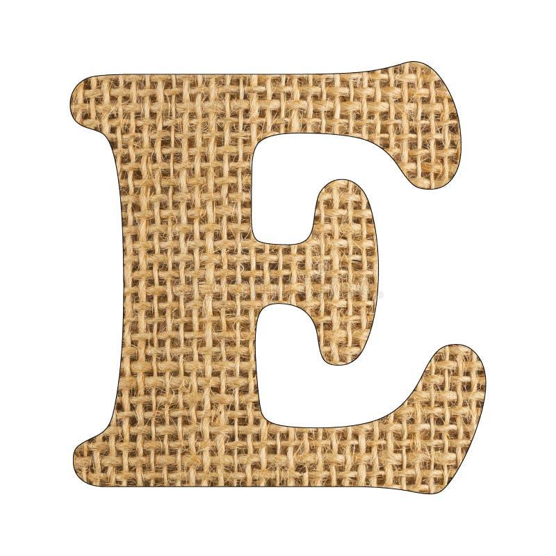 E, Letter of the alphabet - Burlap Background Texture. White background. E, Letter of the alphabet - Burlap Background Texture royalty free stock photography