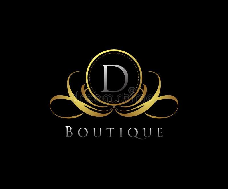 D Letter boutique logo design. E Letter boutique logo design. E letter boutique logo, luxury, vector, vintage, template, emblem, decoration, elegant, floral royalty free stock image