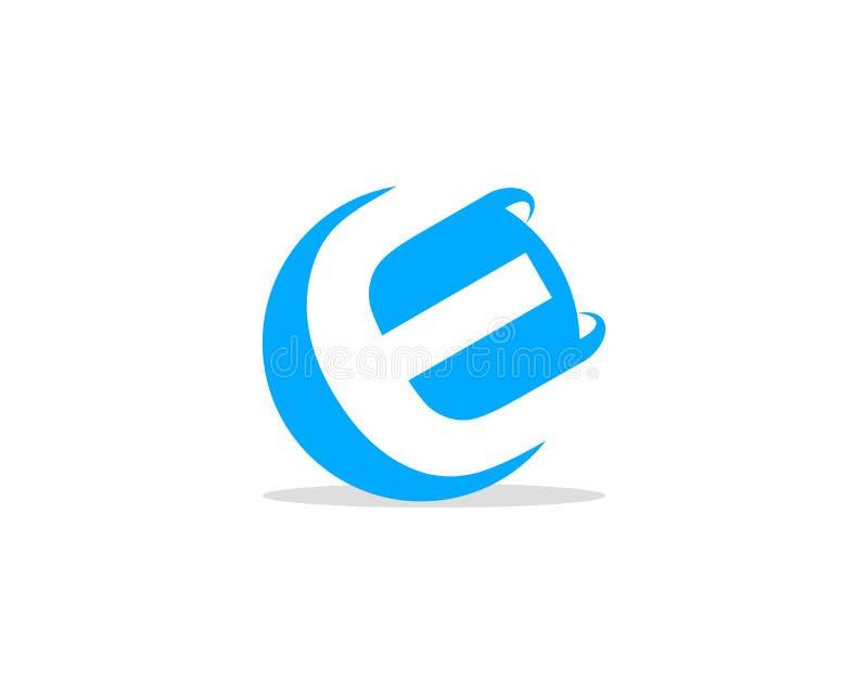 E Letter 3D Circle Negative Space Logo Design Template vector illustration