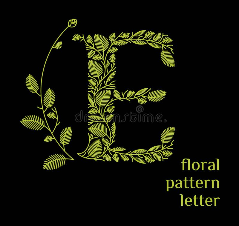 E letter eco logo isolated on black background. Organic bio logo from green grass leaves, plants for corporate identity. E letter eco logo isolated on white vector illustration