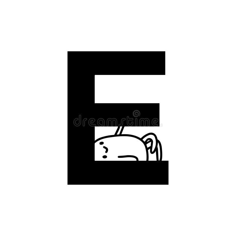 E letter hand drawn cartoon illustration with cute cartoon comic man smiling stock illustration