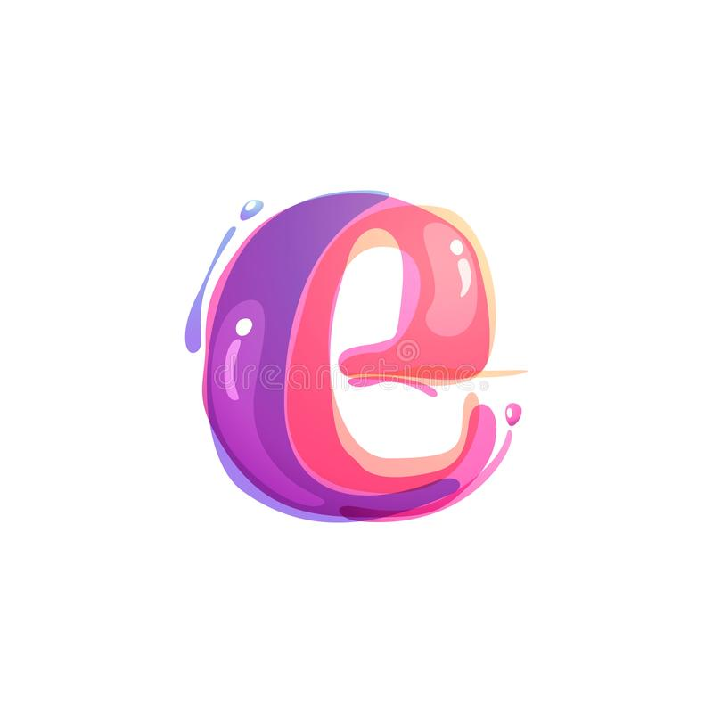 E letter logo formed by watercolor splashes. Color overlay style. Vector typeface for labels, headlines, posters, cards etc vector illustration