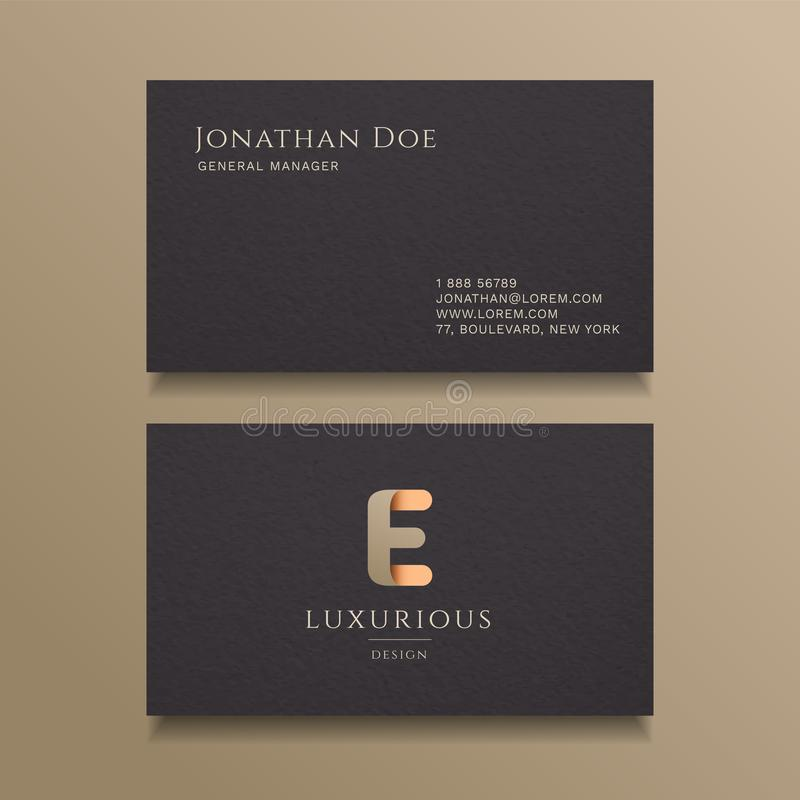 E Letter typography Alphabet logo luxury business card design template royalty free illustration