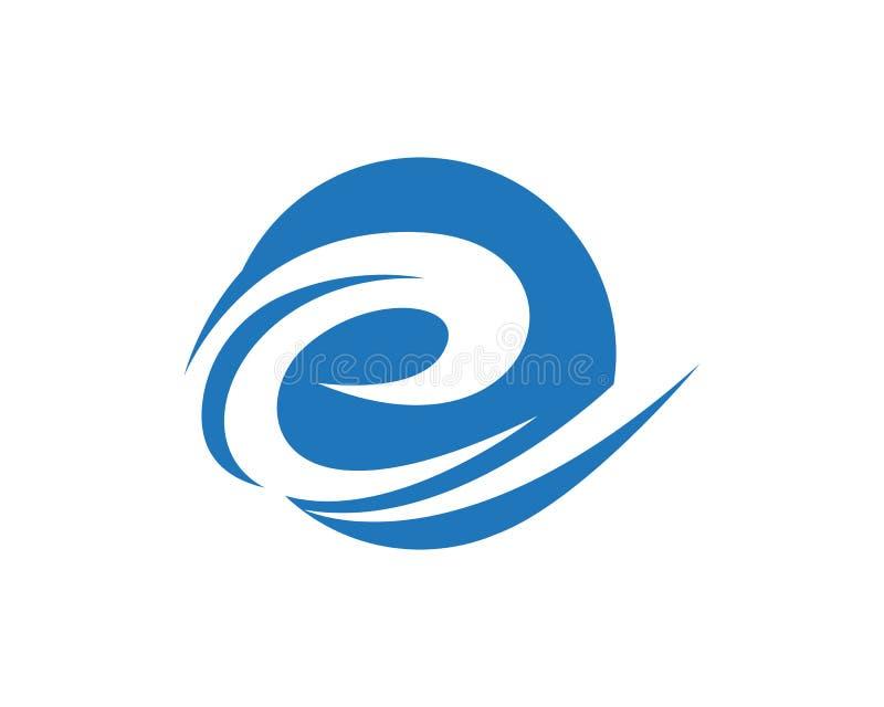 E Letter Water wave Logo Template. Vector illustration design stock illustration