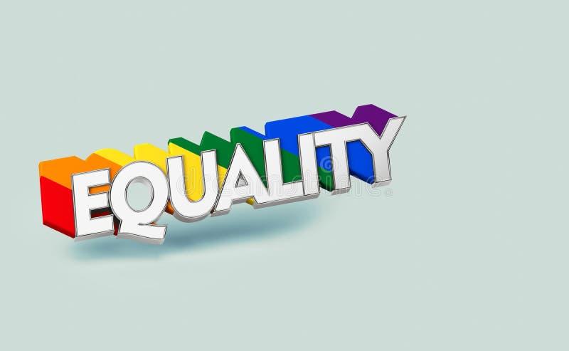 E LGBT平等标志概念 隔绝在与拷贝空间的淡色绿色背景 3d 皇族释放例证
