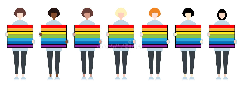 E LGBTIQ-gemenskap Kvinnar?tter vektor illustrationer