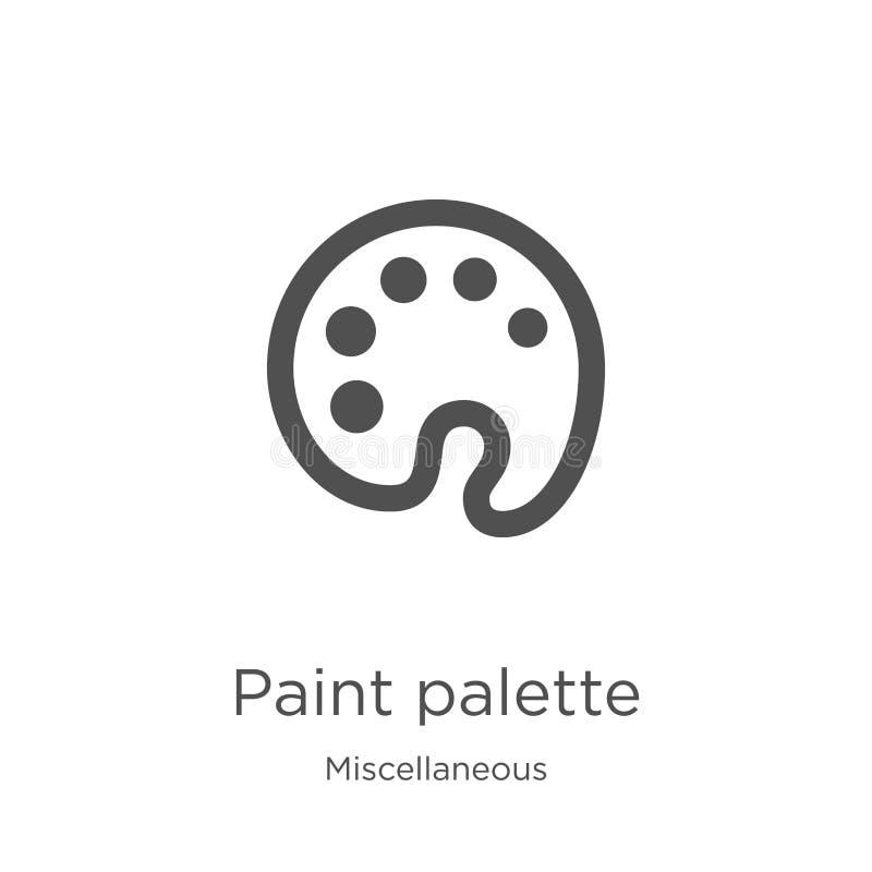 E Ligne mince illustration de vecteur d'icône d'ensemble de palette de peinture Contour, légèrement illustration de vecteur