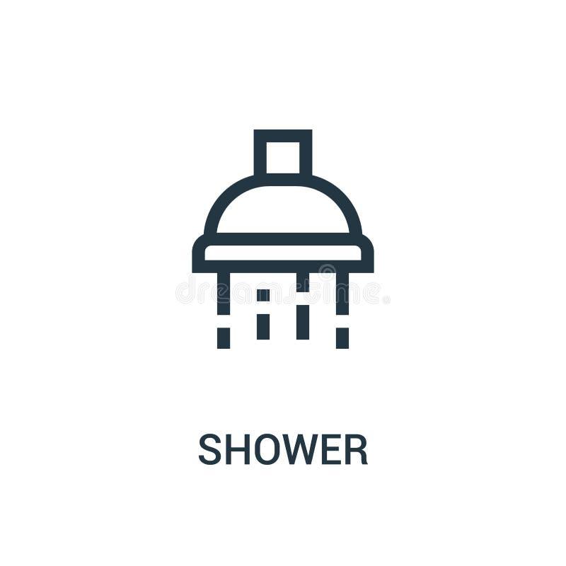 E Ligne mince illustration de vecteur d'ic?ne d'ensemble de douche illustration de vecteur