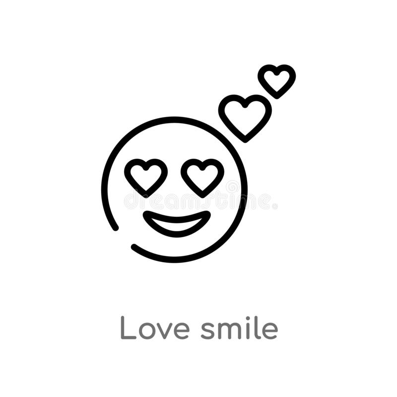 E ligne simple noire d'isolement illustration d'?l?ment de concept de smiley amour editable de course de vecteur illustration libre de droits