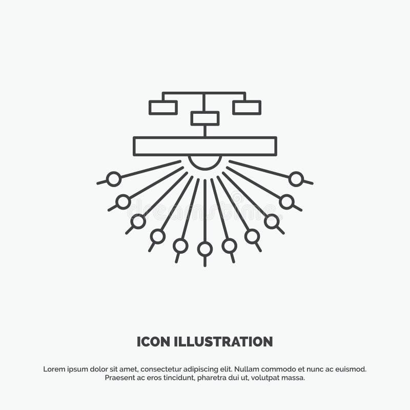 E Lijn vector grijs symbool voor UI en UX, website of mobiele toepassing stock illustratie