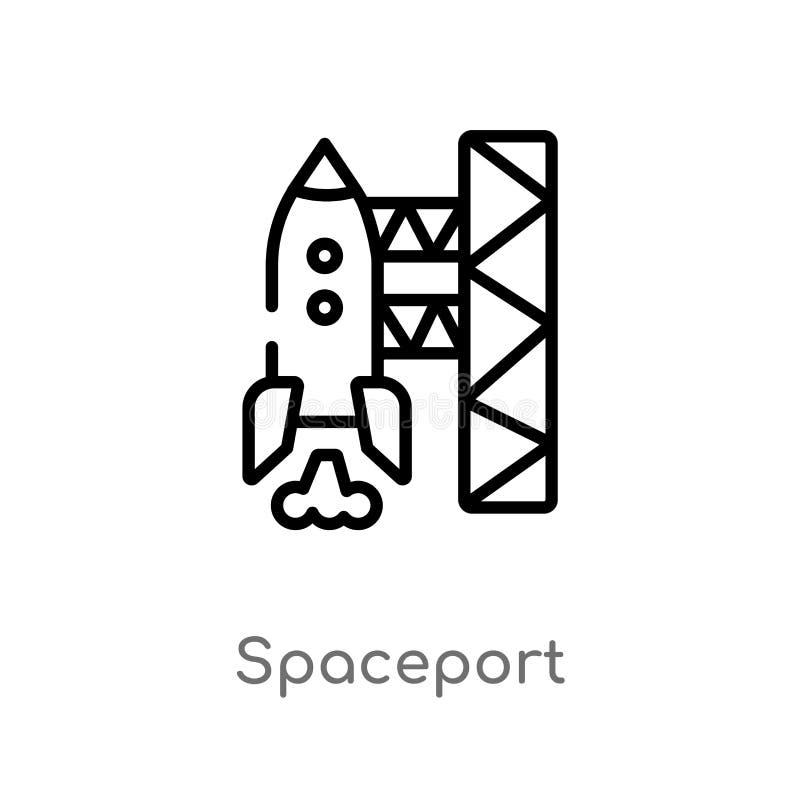 E linea semplice nera isolata illustrazione dell'elemento dal concetto di astronomia Colpo editabile di vettore illustrazione di stock