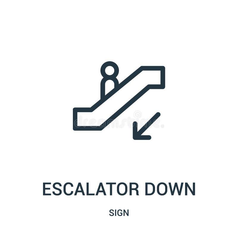 E Linha fina escada rolante abaixo da ilustra??o do vetor do ?cone do esbo?o ilustração do vetor