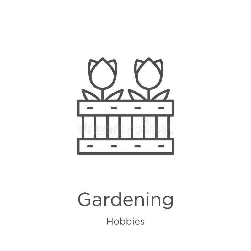 E Linha fina ilustra??o de jardinagem do vetor do ?cone do esbo?o Esbo?o, linha fina jardinagem ilustração stock