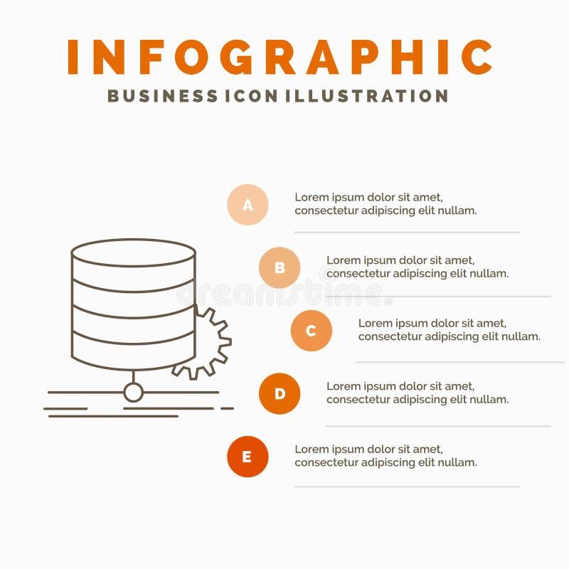 E Linje gr? symbol med orange infographic vektor illustrationer