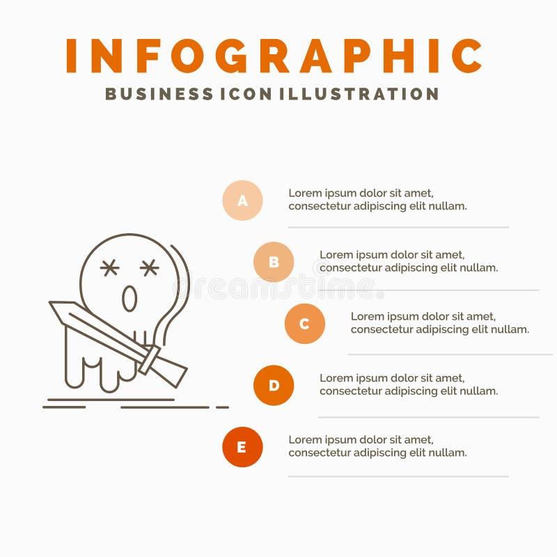 E Linje gr? symbol med orange infographic stil stock illustrationer