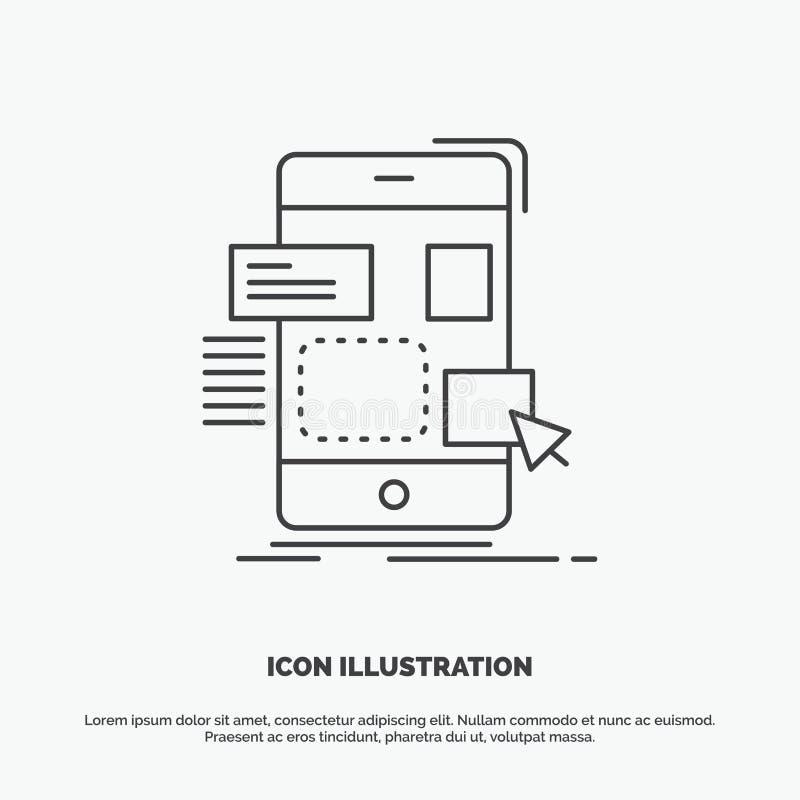 E Linje gr?tt symbol f?r vektor f?r UI och UX, website eller mobil applikation stock illustrationer