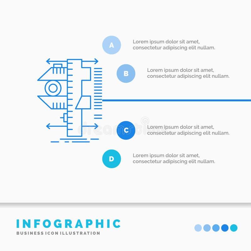 E Linje infographic bl? symbol stock illustrationer