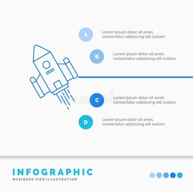 E Linje infographic stil f?r bl? symbol stock illustrationer