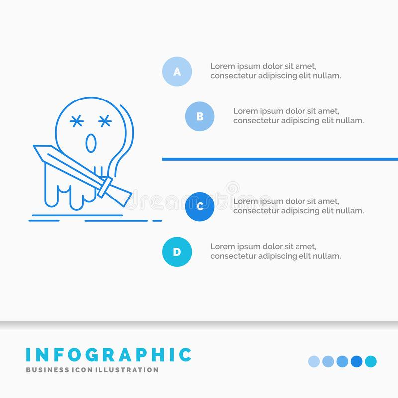 E Linje infographic stilvektor f?r bl? symbol stock illustrationer