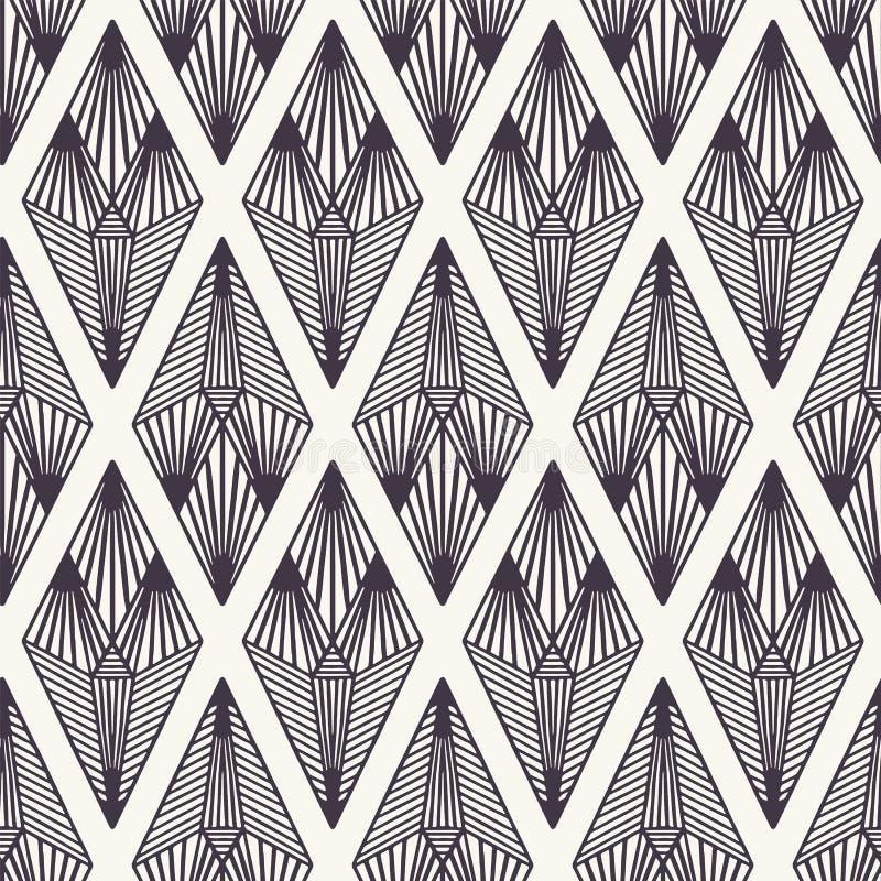 E Linocut striped формы диаманта Повторение геометрической предпосылки плитки Monochrome поверхностная ткань дизайна иллюстрация вектора