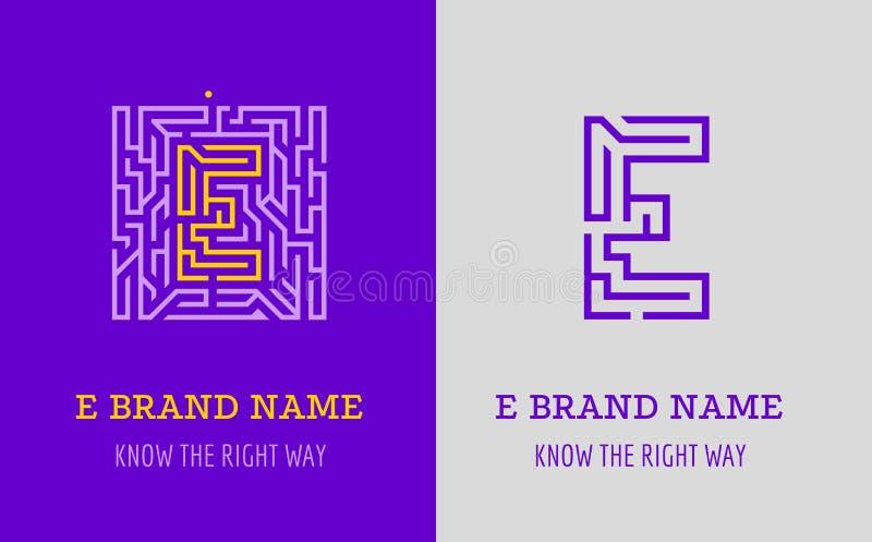 E listu logo labirynt Kreatywnie logo dla korporacyjnej tożsamości firma: listowy E Logo symbolizuje labitynt, wybór prawa ścieżk royalty ilustracja