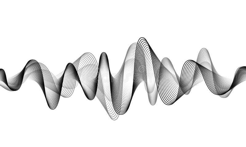 E Ljudsignal musiksoundwave Illustration för form för stämmafrekvens r stock illustrationer