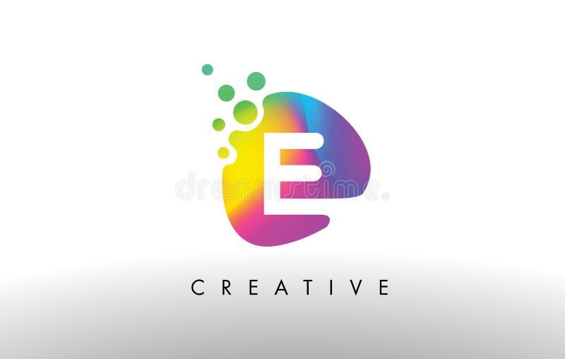E Logo Design Shape colorido Icono abstracto púrpura de la letra de la forma ilustración del vector
