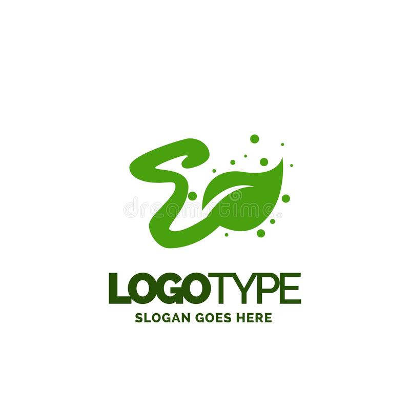 E logo with Leaf Element. Nature Leaf logo designs, Simple leaf. Logo symbol. Natural, eco food. Organic food badges in vector. Vector logos. Natural logos with royalty free illustration