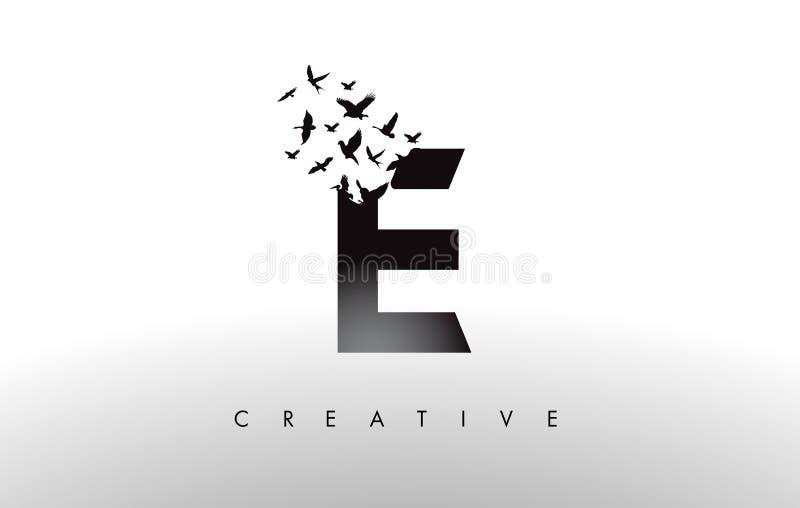 E Logo Letter avec la volée des oiseaux volant et se désagrégeant de illustration stock