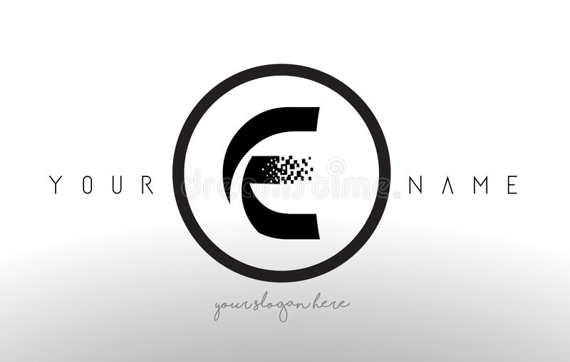 E Logo Letter avec le vecteur de conception de technologie de pixel de Digital illustration libre de droits
