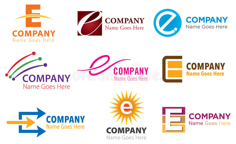 E Logo Set. The letter E alphabetical logo icon set stock illustration