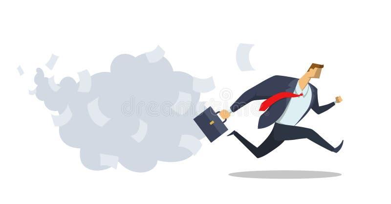 E Lopp för framgång kontorsarbete stopptid brådska upp Begreppslägenhet vektor illustrationer