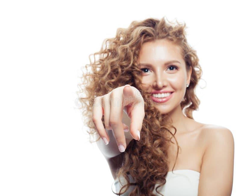 E lyckligt peka för flicka royaltyfria bilder