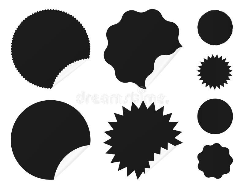 E märker klibbigt Enkla solsymboler vektor illustrationer