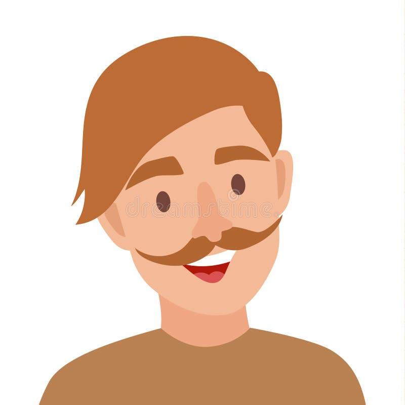 E Mężczyzna z wąsy ikony ilustracją Modnisia charakter ilustracja wektor