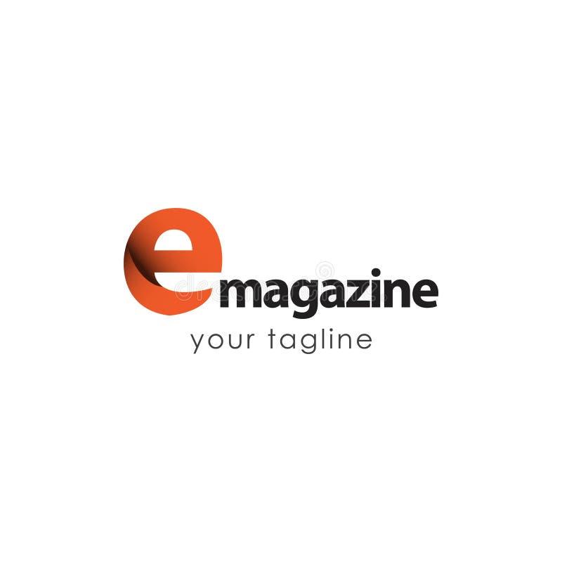 E Magazine Logo Vector Template Design Illustration. Learning icon newsletter cover education school brochure layout background book innovation symbol stock illustration