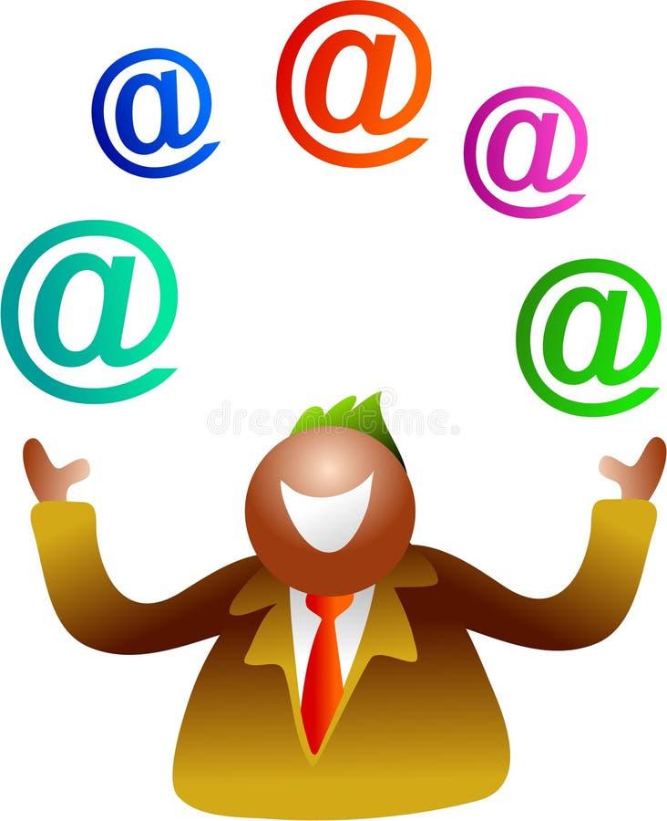e - mail żonglować ilustracja wektor