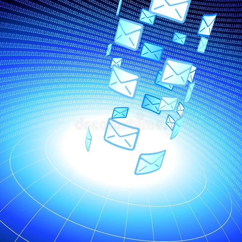 E-mail berichtachtergrond met binaire code stock illustratie