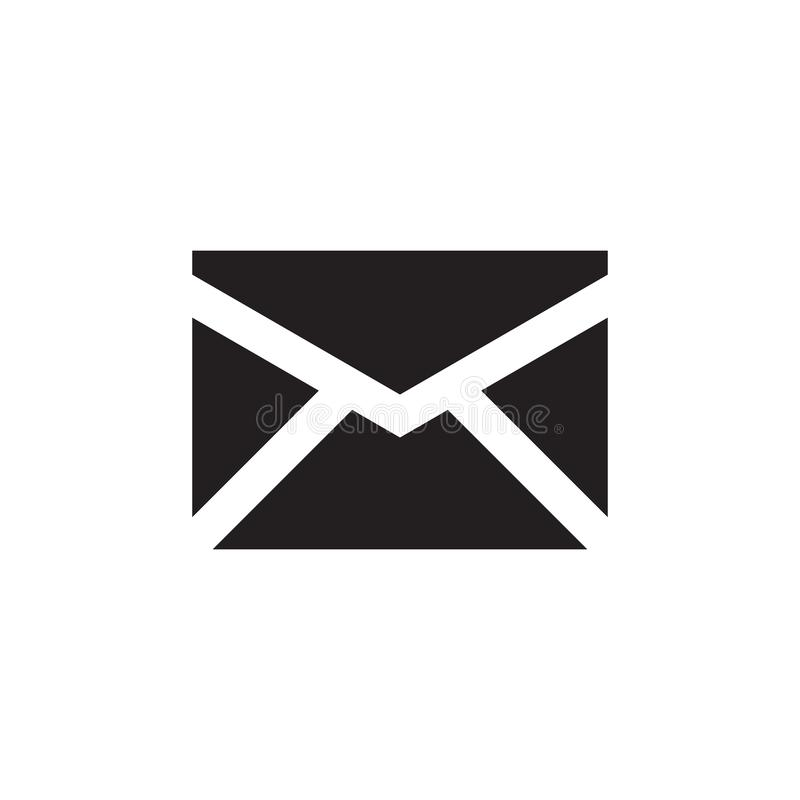 E-mail black icon on white background vector illustration for website, mobile application, presentation, infographic. Envelope royalty free illustration
