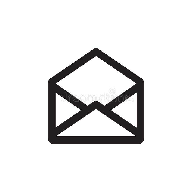 E-mail black icon on white background vector illustration for website, mobile application, presentation, infographic. Envelope wit royalty free illustration