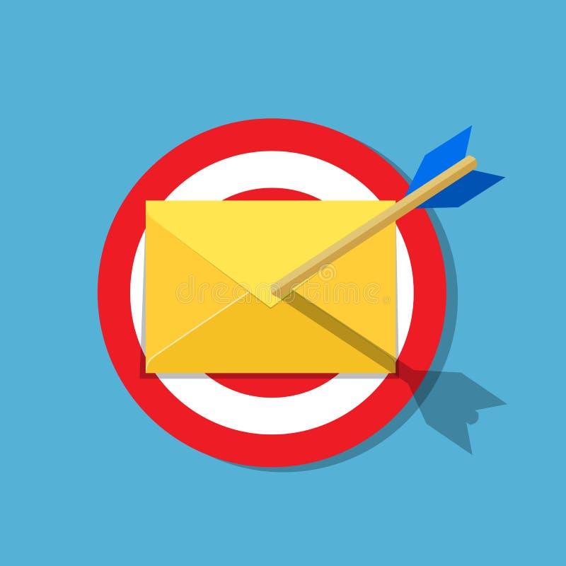 E-Mail-Buchstabe mit Pfeil auf dem Ziel lizenzfreie abbildung