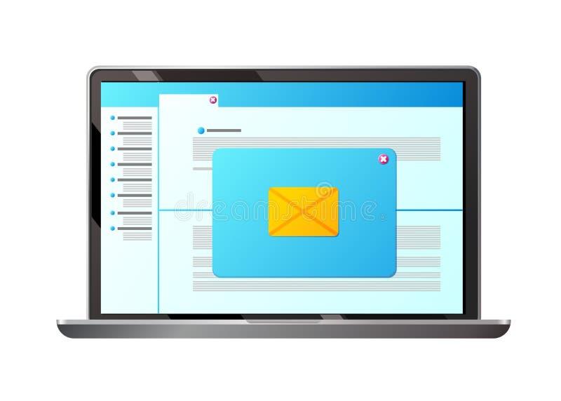 E-Mail, Buchstabe Senden, Postmitteilungen empfangend, Informationen sammelnd und austauschend vektor abbildung