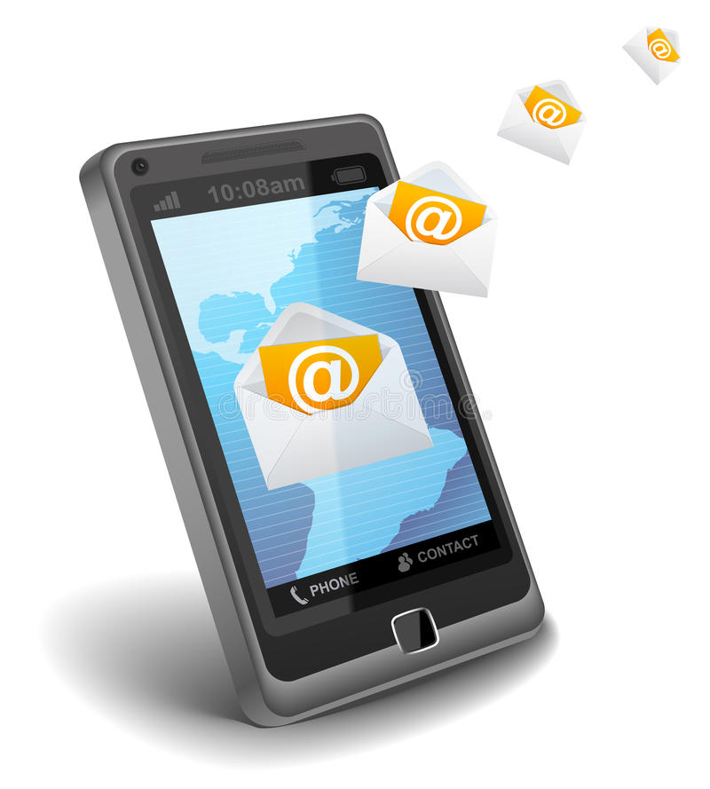 E-mail on cell phone. On white background