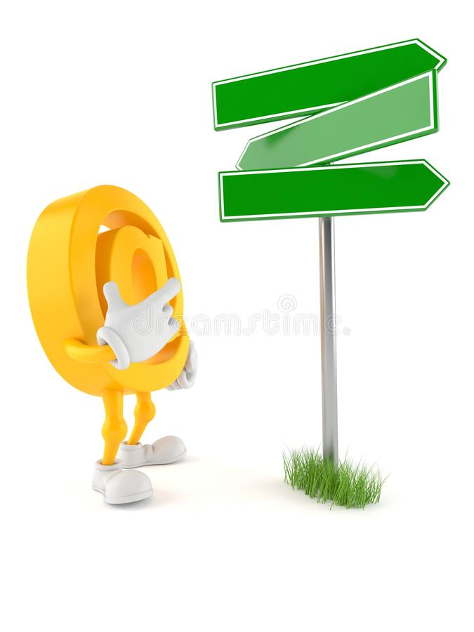 E-mail character with blank signpost. Isolated on white background. 3d illustration stock illustration